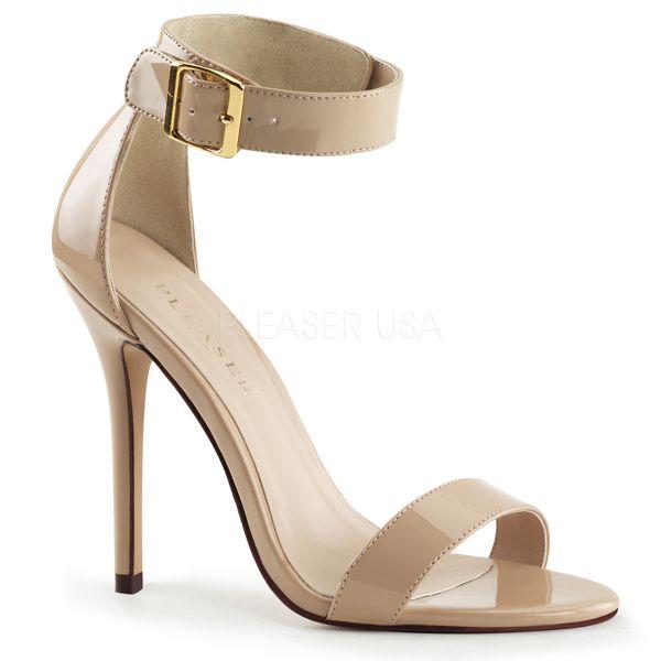 High-Heel Sandalette in nude Lack mit breitem Fesselriemchen und großer goldfarbener Schnalle AMUSE-10